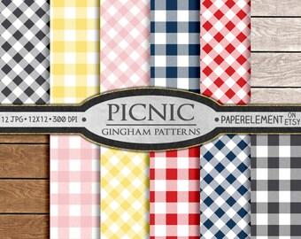 Gingham Digital Paper   Seamless Patterns   Buffalo Check Picnic Tablecloth    Gingham Plaid Backgrounds Gray