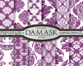 Plum Purple Damask Digital Paper Pack: Plum Digital Paper, Plum Damask Paper, Plum Damask Patterns, 12 x 12 Printable Plum Damask Background