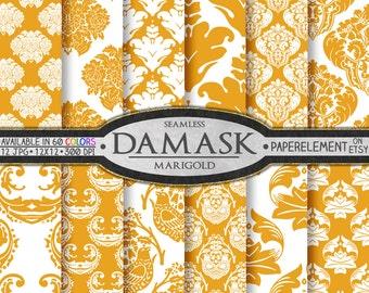 Marigold Orange Damask Digital Paper - Printable Scrapbooking Patterns - Instant Download