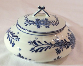 "Vintage Netherlands Dutch Delft Blue ""porceleyne fles"" Lidded Large Bowl"