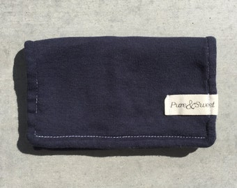 Organic Mini Burp Cloth, Navy Blue
