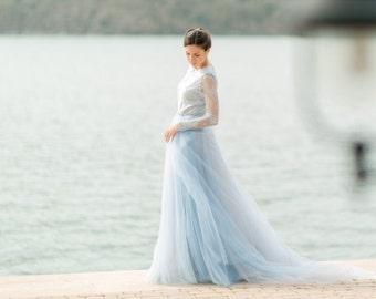 Blue wedding dress, blue dress, light blue dress, blue lace dress.