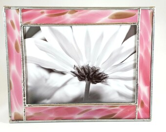 Pink Giraffe Stained Glass Picture Frame