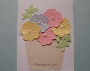 Thinking of You Spring Flowers in Flower Pot Greeting Card Kit Makes 2 Stampin'  Up