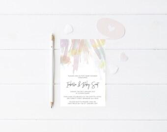 Baby Shower Invitation Brush Strokes - Printable