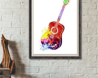 Acoustic Guitar, Guitar Watercolor Print, Music Poster, Music, Abstract Music Instrument Poster, Guitar Decor, Guitar Art (A0239)