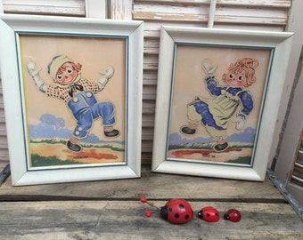 Vintage Raggedy Ann & Andy Children's Pictures, Three Dimensional, George Novelties Original, 1950's, Nursery Decoration, Child's Pictures