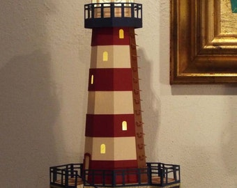 Lighthouse pattern etsy for 3d paper lighthouse template