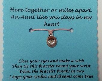 Aunt Wish Bracelet, Keepsake Card, Cord Wish Bracelet, Aunt gift, Charm bracelet, Aunt Card, String Wish Bracelet, Aunt Bracelet, Xmas gift