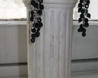 Black dangling earrings, earrings black cluster-shaped, long black and Silver earrings