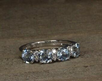 Estate, 14K White Gold Aqua ad Diamond Ring