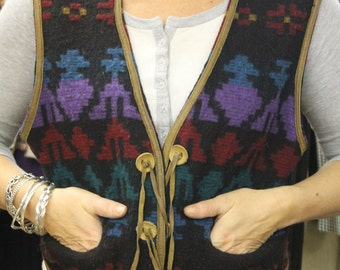 Vintage Woolen Patterned Multi-Coloured Waistcoat
