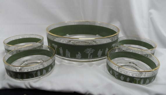 Hellenic Jeanette Glass Berry Bowl Set Large Serving and 4 Individual Rich Green