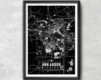 ANN ARBOR Michigan Map with Coordinates, Ann Arbor Map, Map Art, Map Print, Ann Arbor Print, Ann Arbor Art, Ann Arbor Gift, Wall Art, Map