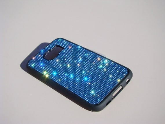 Galaxy S6 Blue Sapphire  Diamond Crystals on Black Rubber Case. Velvet/Silk Pouch Bag Included, Genuine Rangsee Crystal Cases.
