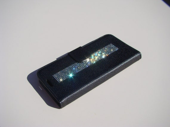"Galaxy S6  "" Edge "" Black Diamond Rhinestone Crystals on Black Wallet Case. Velvet/Silk Pouch bag Included, Genuine Rangsee Crystal Cases."