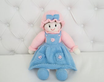 Adorable Pink and Blue Dolly - Hand Knit Doll - Size 17 inches (Made to Order)