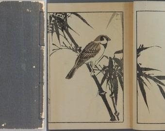 "Japanese vintage original woodblock print book, Kawamura Bunpo, ""Kinpaen-Gafu"""
