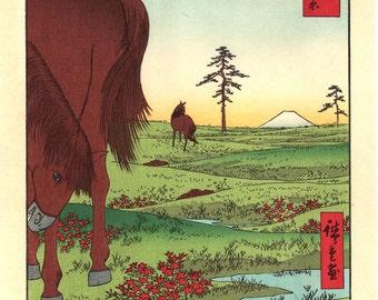 "Woodblock print, Japanese Ukiyoe, Hiroshige, ""Kogane Plain in Shimôsa Province"", Thirty-six Views of Mount Fuji ."