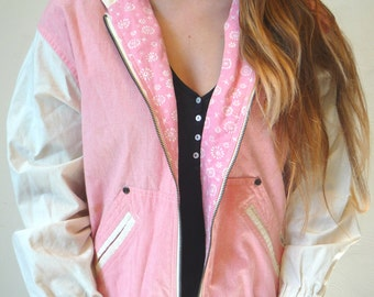 Pink and White Vintage Women's Zip-up Jacket