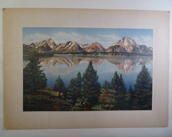 SALE!  REDUCED PRICE!  Tetons Reflected in Jackson Lake Litho by Sanborn Souvenir Company