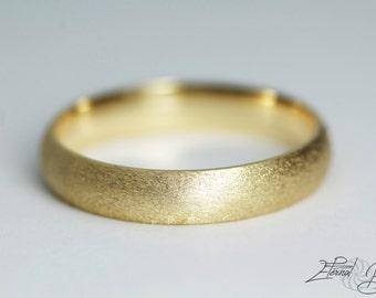 18k Solid Yellow Gold Wedding Band, Matte Wedding Band, Brushed Wedding Band, 4mm, Matte Finish Half Round Band