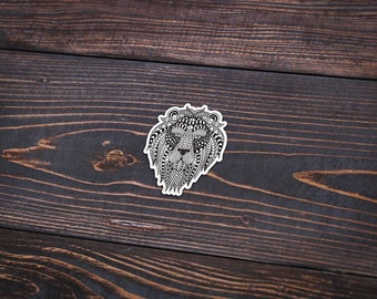 """Lion Drawn - Pack Of 3 - 4"""" Tall - Personalized Sticker - Die Cut"""