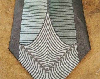 Vintage Tie - Geometric Pattern -  Gift For Him - Suit Accessories - 100% Silk