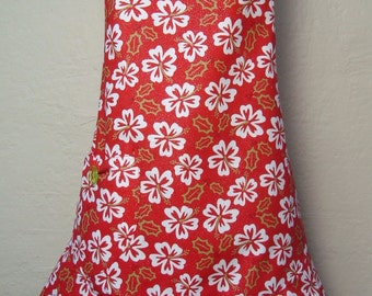 Red and White Hibiscus Christmas Apron, Hawaiian Christmas Apron, Tropical Christmas Apron, Luau Apron