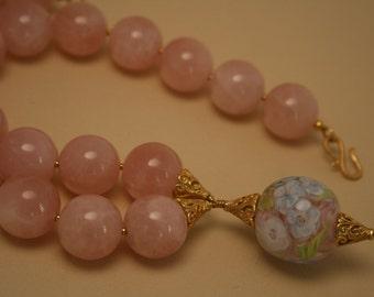 Next Stop Love - Original design lampwork glass and rose quartz necklace
