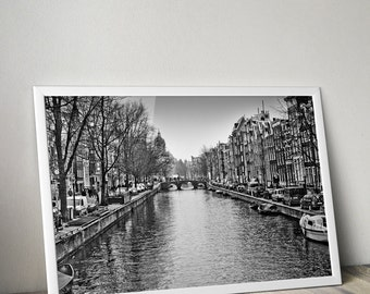 Amsterdam Canal Black and White Photograph