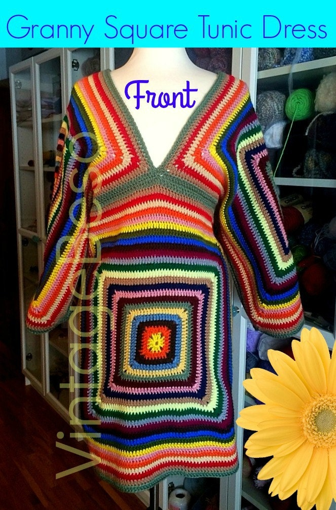 Crochet Granny Square Tunic Pattern : 4 Patterns Dress CROCHET PATTERN Vintage 1970s Sweater Crochet