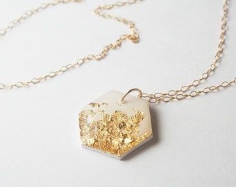 Gold Flake Hexagon Necklace, Minimal Dainty Gold Layering Necklace, Delicate White Necklace, Geometric Jewelry, Ready to Gift