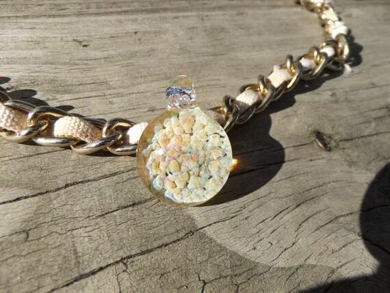 Solar Dust Glass Pendant Heady Pendant Heady Glass Pendant Boro Pendant Hand Blown Glass Pendant Light Green Necklace Heady Jewelry