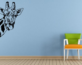 Long Neck Animal Giraffe Safari Savannah Africa Jungle Wall Decal Vinyl Sticker Mural Room Decor L1541