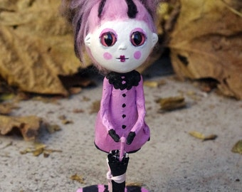 """OOAK Art doll """"Rusula"""". Papier mache and paper clay doll. One of a kind. Pink doll."""