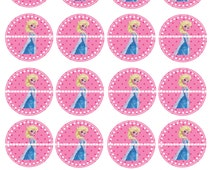 INSTANT DOWNLOAD- Elsa Cupcake Toppers- Frozen Cupcake Toppers- Stickers- Labels- 2 Inch- Digital Image-8.5 x 11