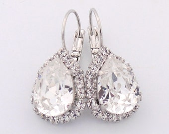 Teardrop wedding earrings - bridal earrings - bridesmaid earrings - bridal party earrings - pear drop earrings - Kate earrings