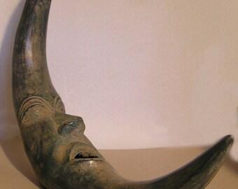 Cast Bronze Moon face Sculpture/Wallhanging
