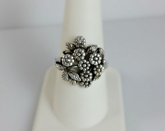 Vintage Silver Cast Flower Ring - Bouquet of Flowers Ring Size 9 - Silver Flowers Ring - Vintage Ring Size 9