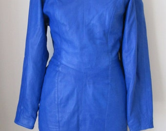 Vintage 80'S MICHAEL HOBAN North Beach Leather Royal Blue Dress Size Small