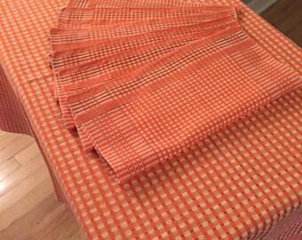 Vintage linen tablecloth & 6 napkins, orange, white, black checkered plaid