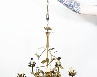 Vintage tole chandelier Toleware chandelier Vintage chandelier Gold leaf chandelier Shabby chic light Italian chandelier Tole light