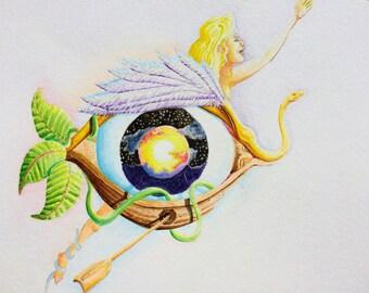 "Eye Original Painting: 8.5"" x 11"""