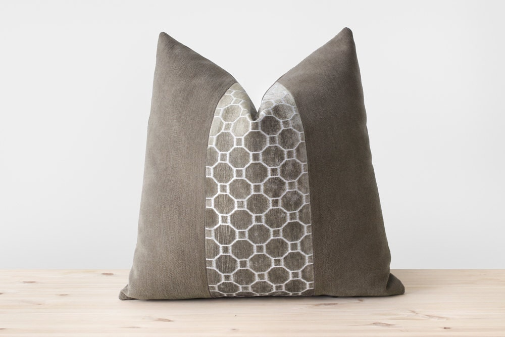 Throw Pillows Taupe : Neutral Throw Pillow Cover Taupe and White Pillows Geometric