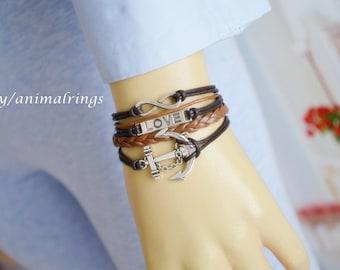 Anchor Bracelet, Love Bracelet, Anchor Leather bracelet, Anchor Cord bracelet, Friendship Bracelet, Charm Bracelet