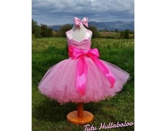 Short Tutu Dress - Large Wide Sash Bow Belt - Knee Length - Flower Girl Dress