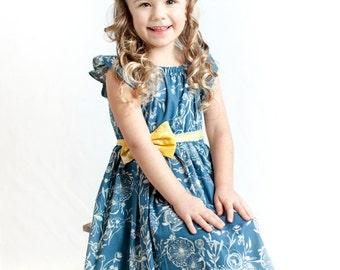 Girls Spring Dress, Flutter Sleeve Dress, Twirl Dress, Blue Dress, Toddler Girls Summer Dress, Boutique Dress, Gifts For Girls, Size 2T-10