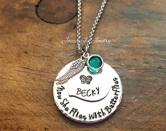 Now She Flies With Butterflies Necklace, Remembrance Necklace, Memorial Necklace, Infant Loss Necklace, Hand Stamped Memory Necklace