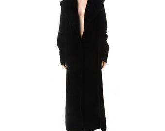 Vintage Full-Length Black Velvet Coat